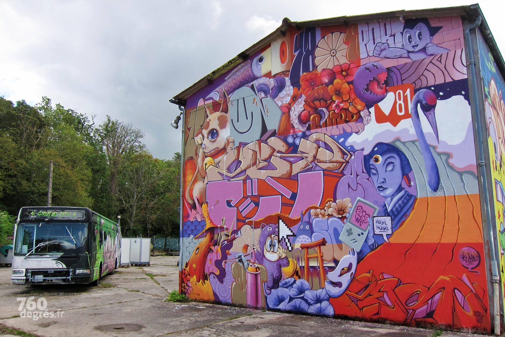 ZESO (France) - Dans cette œuvre de pur graffiti, Zeso, artiste emblématique de Street Art City enchevêtre une foule de détails pour y créer un univers qui fait sens.