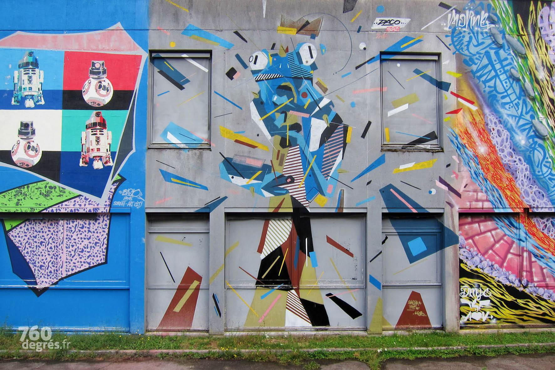 Le bestiaire graphique de DACO (France) au centre, entouré de BASTO (France), pochoiriste inspiré par Star Wars et MORNE (France) et sa calligraphie abstraite.